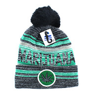 WB074 Marijuana Pom Pom Beanie (Black & Kelly Green)