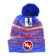 WB074 New York Pom Pom Beanie (Royal & Red)