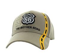 VM083 Route 66 Road Line Velcro Cap (Solid Khaki)