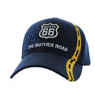 VM083 Route 66 Road Line Velcro Cap (Solid Navy)