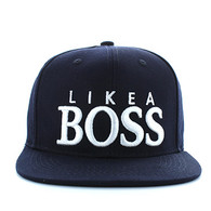 """SM356 """"LIKE A BOSS """" Cotton Snapback (Solid Navy - White)"""