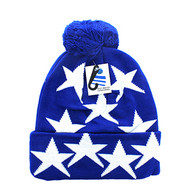WB081 Star Pom Pom Beanie (Solid Royal Blue)