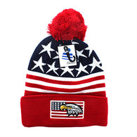 WB079 USA Eagle Flag Pom Pom Beanie (Navy & Red)
