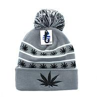 WB071 Marijuana Pom Pom Beanie (Grey & Black)