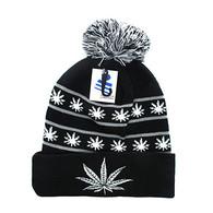 WB071 Marijuana Pom Pom Beanie (Black & White)