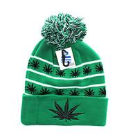 WB071 Marijuana Pom Pom Beanie (Kelly Green & Black)