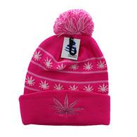 WB071 Marijuana Pom Pom Beanie (Hot Pink & Hot Pink)