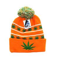 WB071 Marijuana Pom Pom Beanie (Orange & Kelly Green)