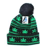 WB075 Marijuana Pom Pom Beanie (Black & Kelly Green)