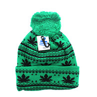WB075 Marijuana Pom Pom Beanie (Kelly Green & Black)