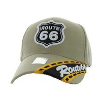 VM296 Route 66 Road Velcro Cap (Solid Khaki)