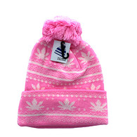 WB075 Marijuana Pom Pom Beanie (Light Pink & White)