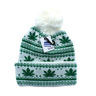 WB075 Marijuana Pom Pom Beanie (White & Kelly Green)