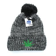 WB001 Marijuana Pom Pom Beanie (Heather Grey)