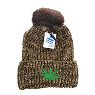WB001 Marijuana Pom Pom Beanie (Heather Brown)