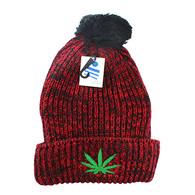 WB001 Marijuana Pom Pom Beanie (Heather Red)