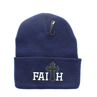 WB040 Jesus Faith Long Beanie (Solid Navy)