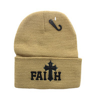 WB040 Jesus Faith Long Beanie (Solid Khaki)