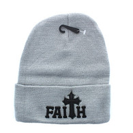 WB040 Jesus Faith Long Beanie (Solid Light Grey)