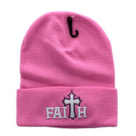 WB040 Jesus Faith Long Beanie (Solid Light Pink)