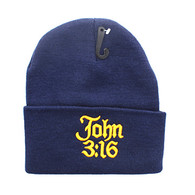 WB040 Jesus John 3:16 Long Beanie (Solid Navy)