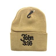 WB040 Jesus John 3:16 Long Beanie (Solid Khaki)