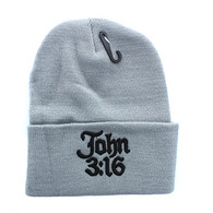 WB040 Jesus John 3:16 Long Beanie (Solid Light Grey)