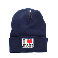 WB040 I Love Jesus Long Beanie (Solid Navy)
