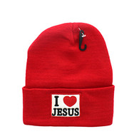 WB040 I Love Jesus Long Beanie (Solid Red)