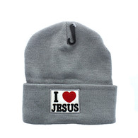 WB040 I Love Jesus Long Beanie (Solid Light Grey)