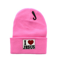 WB040 I Love Jesus Long Beanie (Solid Light Pink)