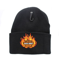 WB040 Jesus Flame Long Beanie (Solid Black)