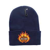 WB040 Jesus Flame Long Beanie (Solid Navy)