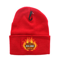 WB040 Jesus Flame Long Beanie (Solid Red)
