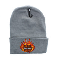 WB040 Jesus Flame Long Beanie (Solid Light Grey)