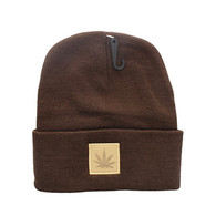 WB076 Marijuana Long Beanie (Brown & Brown PU)