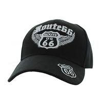 VM318 Route 66 Road Wings Velcro Cap (Solid Black)