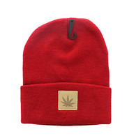 WB076 Marijuana Long Beanie (Red & Brown PU)