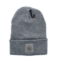 WB076 Marijuana Long Beanie (Grey & Grey PU)