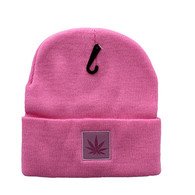 WB076 Marijuana Long Beanie (Light Pink & Light Pink PU)