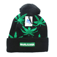 WB078 Marijuana Pom Pom Beanie (Black & Kelly Green)