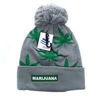 WB078 Marijuana Pom Pom Beanie (Grey & Kelly Green)