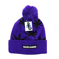 WB078 Marijuana Pom Pom Beanie (Purple & Black)