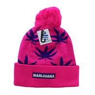 WB078 Marijuana Pom Pom Beanie (Hot Pink & Purple) - WB078