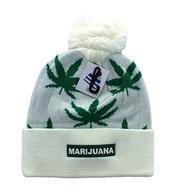 WB078 Marijuana Pom Pom Beanie (White & Kelly Green) - WB078