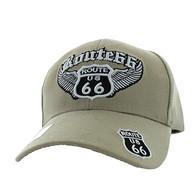 VM318 Route 66 Road Wings Velcro Cap (Solid Khaki)
