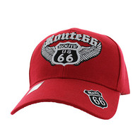 VM318 Route 66 Road Wings Velcro Cap (Solid Red)