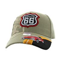 VM046 Route 66 Road Classic Car Velcro Cap (Solid Khaki)