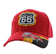 VM046 Route 66 Road Classic Car Velcro Cap (Solid Red)