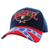 VM401 Rebel Flag Eagle Velcro Cap (Navy & Red)